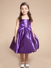 Bubble Hem Skirt Flower Girl Dress with Accented Bow