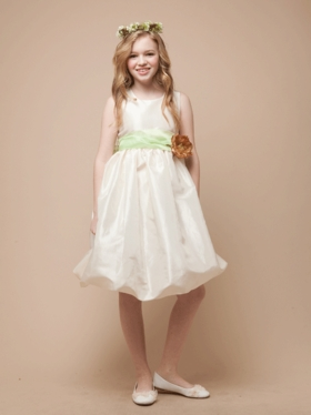 Bubble Taffeta Dress with Accented  Organza Sash