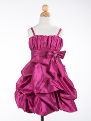 Bubble Taffeta Girl Dress with Accented Bow