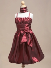 Burgundy Bubble Skirt Flower Girl Dress with Shawl