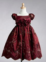 Burgundy Cap Sleeve Embroidered Flower Girl Dress