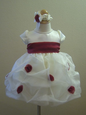 Burgundy infant flower girl dress