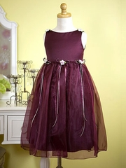Burgundy Organza Flower Girl Dress