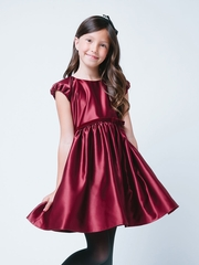 Burgundy Sweet Classic Satin Holiday Dress