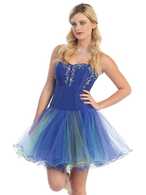 Bustier Top with Tulle Skirt Prom Dress