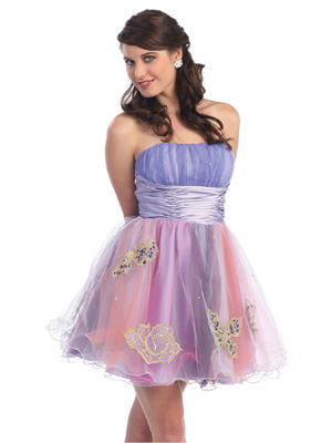 Butterfly Embroidered Short Prom Dress