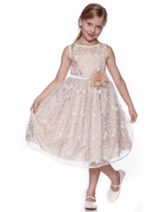 Champagne Lace Flower Girl Dress with Pin-on Flower