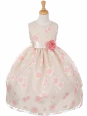 Champagne Organza Floral Dress with Satin Sash