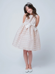 Champagne Striped Organza Flower Girl Dress
