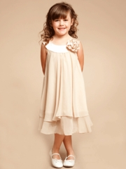 Charming Champagne Double Layered Flowergirl Dress