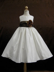 Chocolate Brown Sash Flower Girl Dress