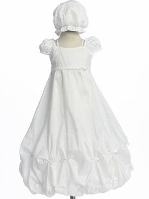 Christening Gathered Tafetta Gown with Bow Trim