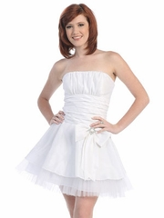 Cinched Belted Waist Short Party Dress