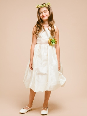 Classy Taffeta Short Bubble Skirt Flower Girl Dress