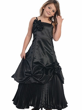 Combination Satin Long Flower Girl Dress