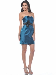 Contemporary Short Party Dress with Floral Accented Waistband