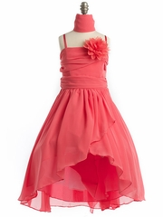 Coral Chiffon Dress with Tulip Skirt