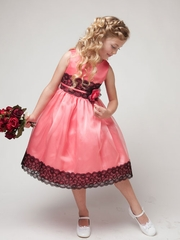 Coral Organza Lace Dress with Contrast color
