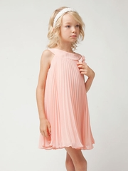 Coral Pleated Chiffon Short Dress