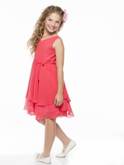 Coral Two Tiered Chiffon Dress