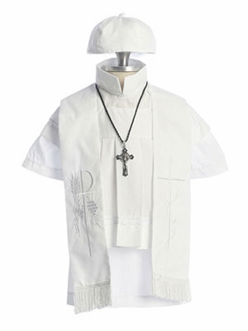 Cotton Boy Christening Gown with Cross