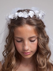 Crystal Elegant Flower Communion Veil