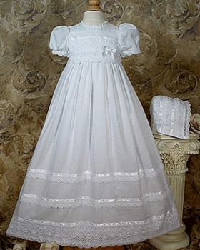 Cute Cotton Batiste with Cluny Lace Baptism Dress