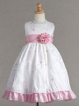 Cute Floral Embroidered Taffeta Flower Girl Dress