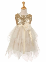Cute Sequin Dress with Mesh Skirt and Ribbon