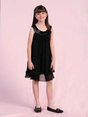 Dashing Black Layered Flower Girl Dress
