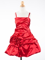 Dashing Red Rose Accented Short Holiday Girl Dress