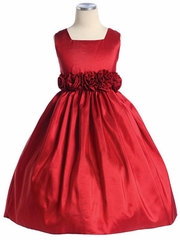 Dashing Red  Squired Neckline Flower Girl Dress