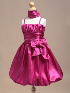Dashing Ruched Bodice Bubble Skirt Girl Dress with Shawl