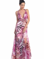Deep V-Neck & Strong Printed Long Prom Dress