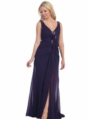 Deep V-Neck w/Jewel Accented Long Prom Dress