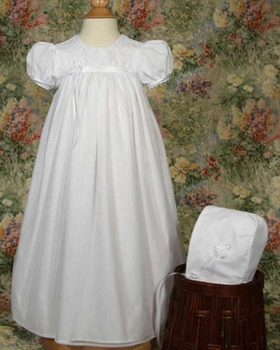 Diamond Quilted Embroidered Bodice Christening Dress