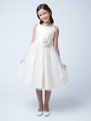 Double Bow Satin and Tulle Dress