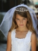 Double layer Communion Veil With Rhinestone Tiara