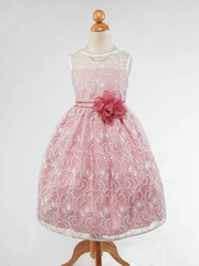 Dusty Rose Lace Flower Girl Dress with Pin-on Flower