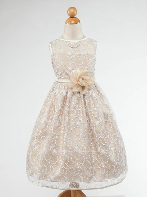 Tea-length - Pink / Blush Flower Girl Dresses