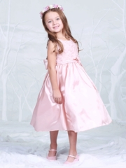 Dusty Rose Taffeta Flower Girl Dress with Matching Rose Purse