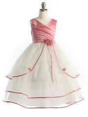 Dusty Rose Two Satin Dress with Tulle Skirt