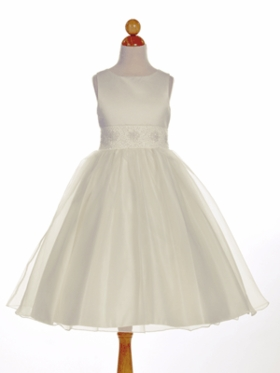 Elegant Beaded Satin Overlay Flower Girl Dress