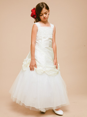 Elegant Floral First Communion Dress with Tulle Skirt