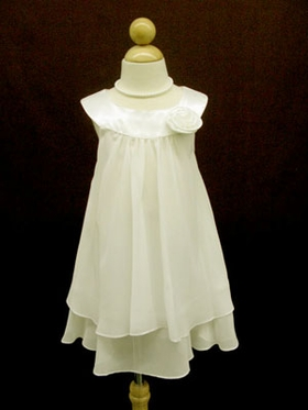 Elegant Ivory  Double Layered  Flowergirl Dress