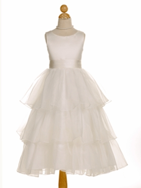 Elegant Ivory Satin 3-Tiered Flower Girl Dress with Changeable Sash