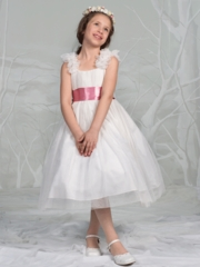 Elegant Tulle Flower Girl Dress with changeable Sash