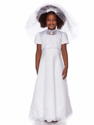 Elegant White Beaded A-Line Satin Communion Dress