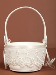 Embroidered Floral Flower Girl Basket