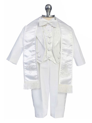Embroidered Vest Boy Christening Gown